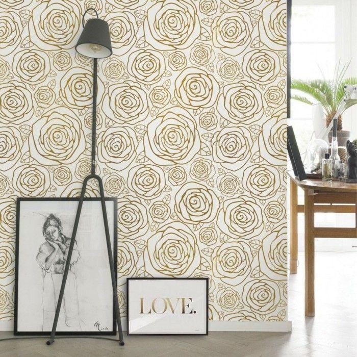 wohnideen wohnzimmer rosentapete in gold und schöne deko für die - stehlampe f r wohnzimmer