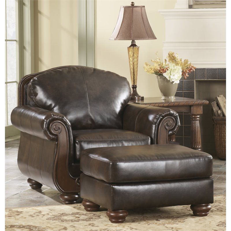 Ashley Barcelona Faux Leather Accent Chair and Ottoman in