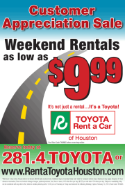 Current Specials Going On In Our Toyota Rent A Car.
