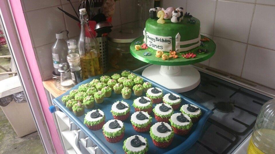 Sheep cupcakes and mini garden cakes