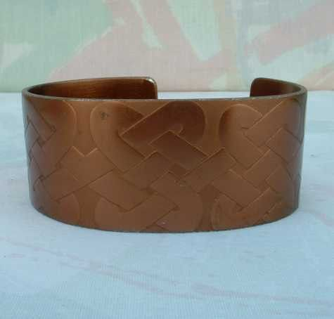 Wide Large Copper Plated Cuff Bracelet Celtic Knot Design Unisex Vintage Jewelry
