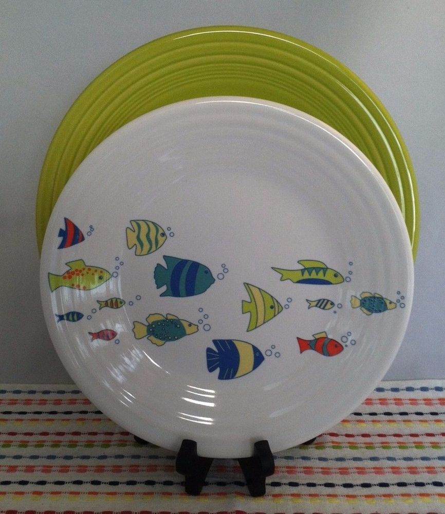 Fiesta® \ Under the Sea\  Luncheon Plate displayed with coordinating Turquoise Fiesta® Dinner Plate. The decorated luncheon plate features a school of fish ... & Fiesta® \