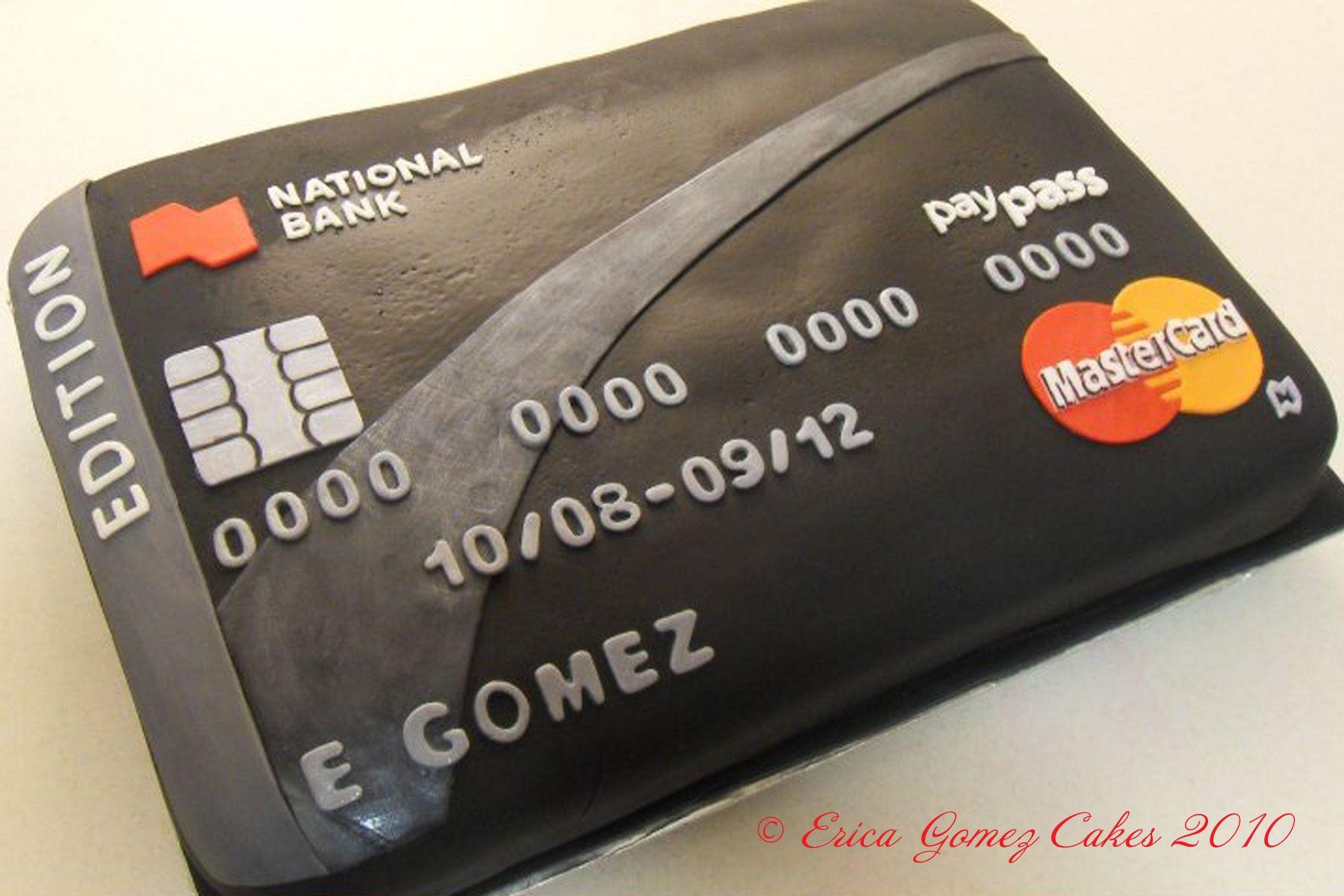 Cake fondant mastercard credit card cake httpwww