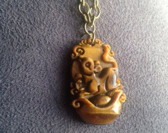 "Women men handmade fashion jewelry necklace 1.5"" carved marble charm brown Egyptian style animal rat rodent adjustable chain"