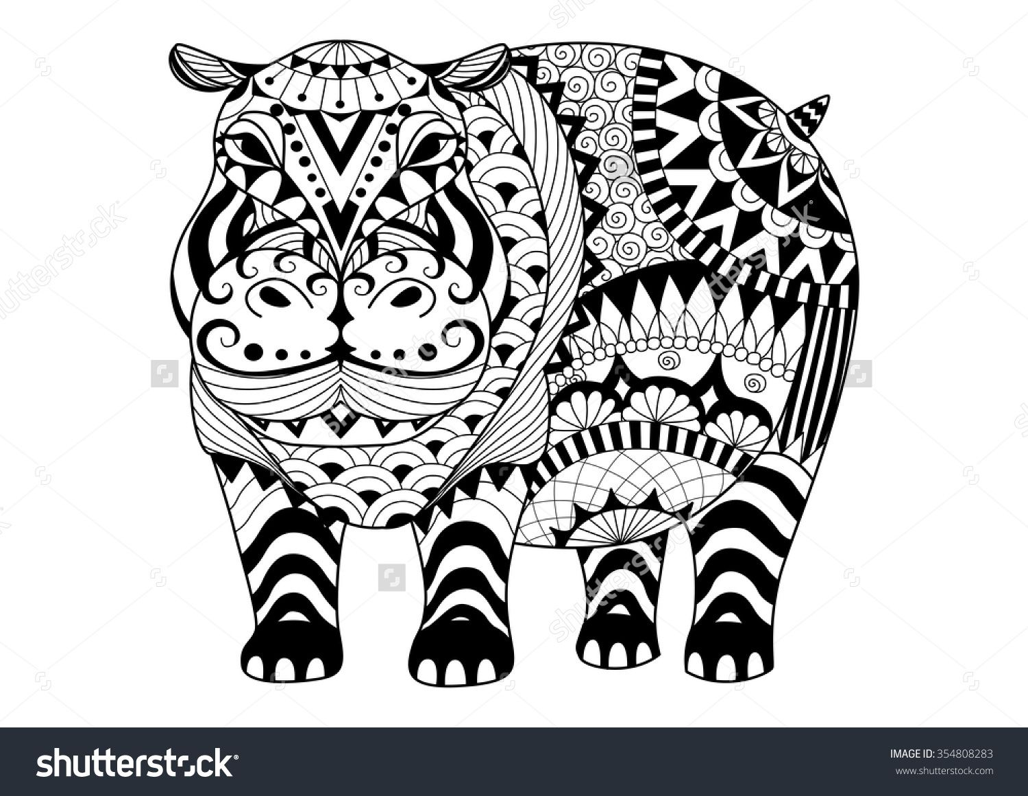 Hand Drawn Zentangle Hippopotamus For Coloring Book For Adult .