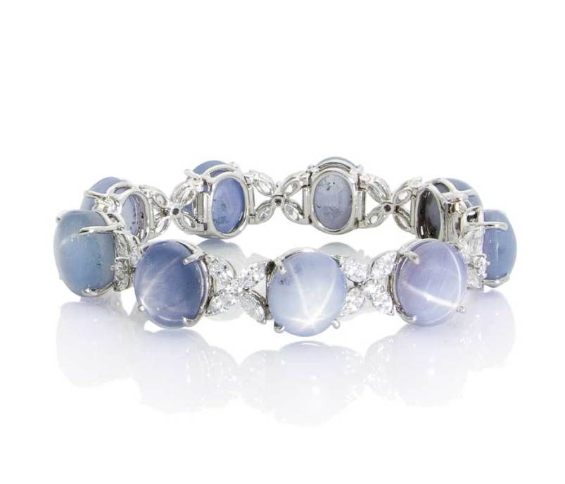 Oscar Heyman star sapphire bracelet in platinum with diamonds