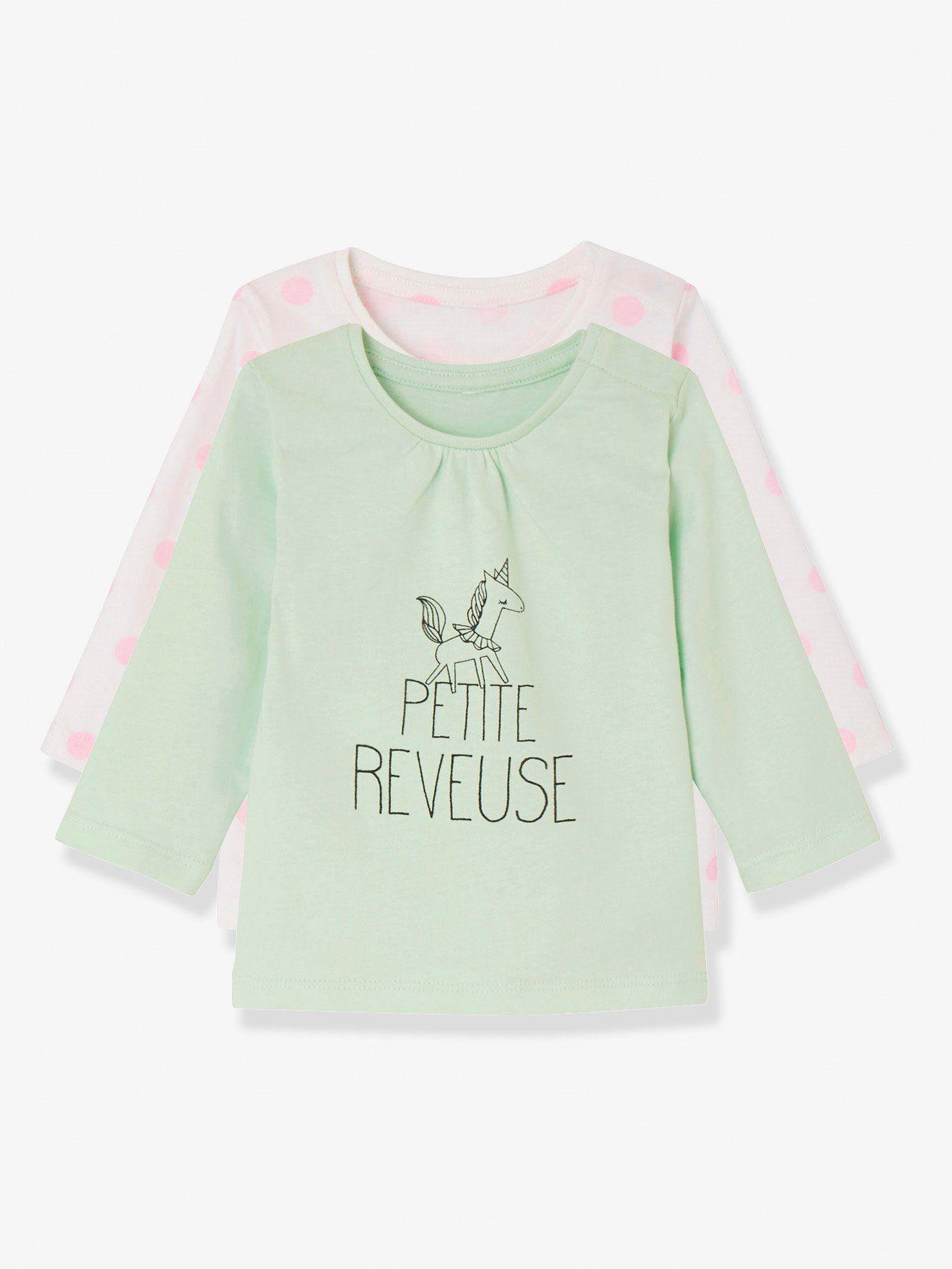 496ce3d88c3ea Lot de 2 T-shirts manches longues bébé fille - blanc pois+aqua ...