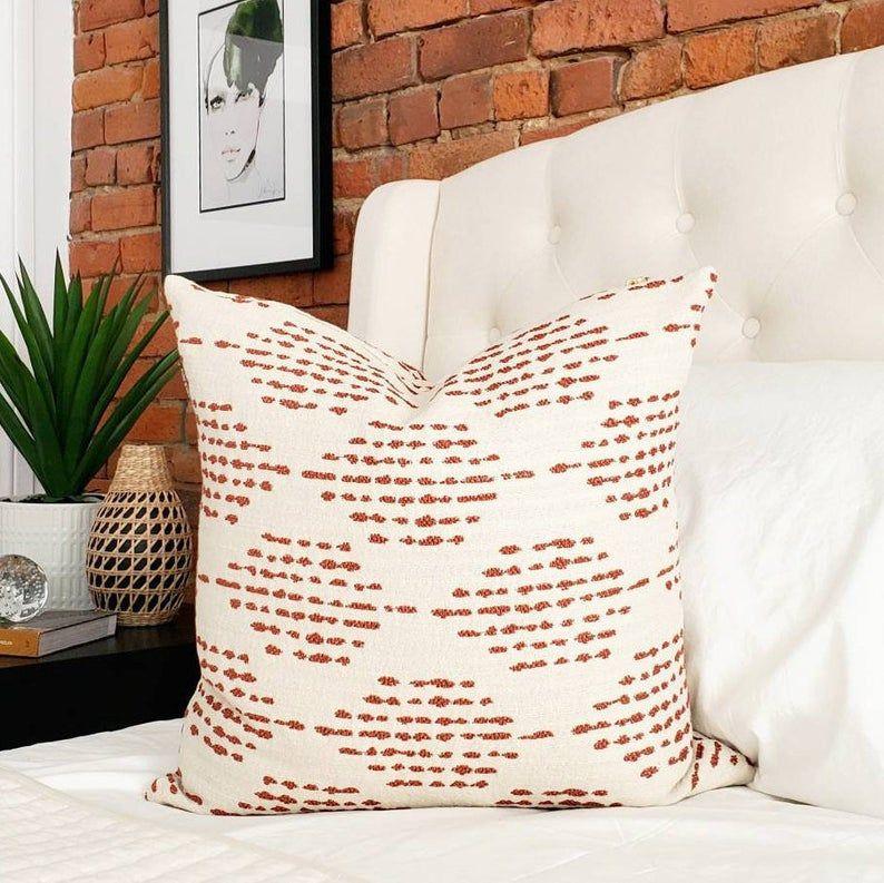 Boho rust pillow, indoor outdoor rust designer pillow, geometric throw pillow, global modern pillow, modern decor, global decor, boho modern