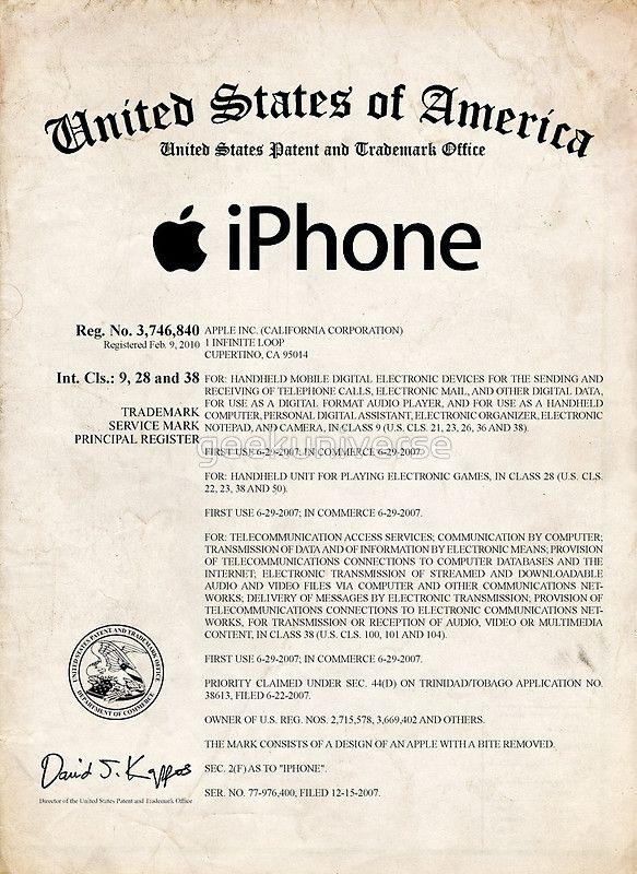 Apple iPhone Certificate US Patent Art Steve Jobs poster print - new enterprise blueprint apple