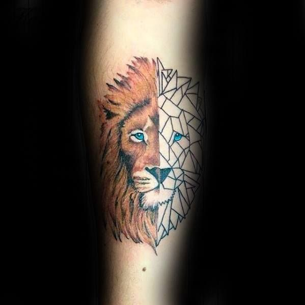 Top 57 Geometric Lion Tattoo Ideas 2020 Inspiration Guide Geometric Lion Tattoo Tattoo Designs Men Lion Tattoo