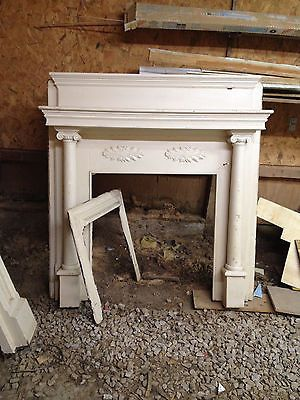 White Antique Fireplace Mantel With Columns Leaves