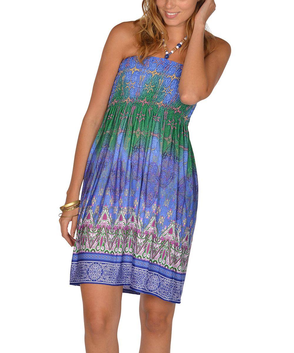 Blue Beaded Batik Halter Dress