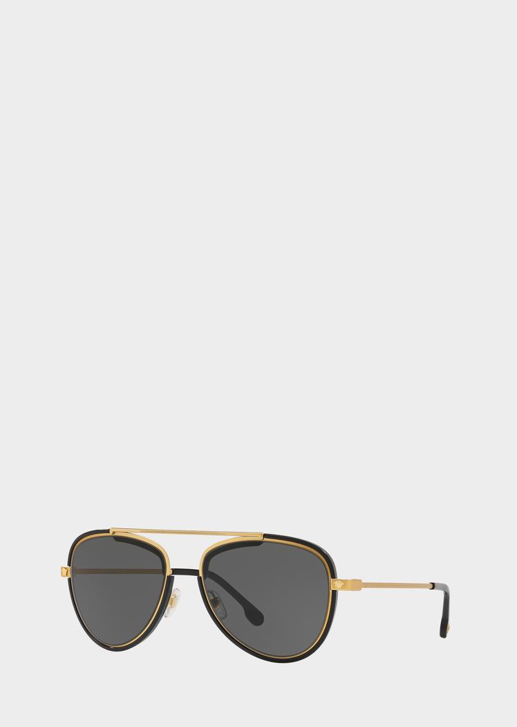 0b64cd0a135 Grey V-Vintage Pilot Sunglasses for Men