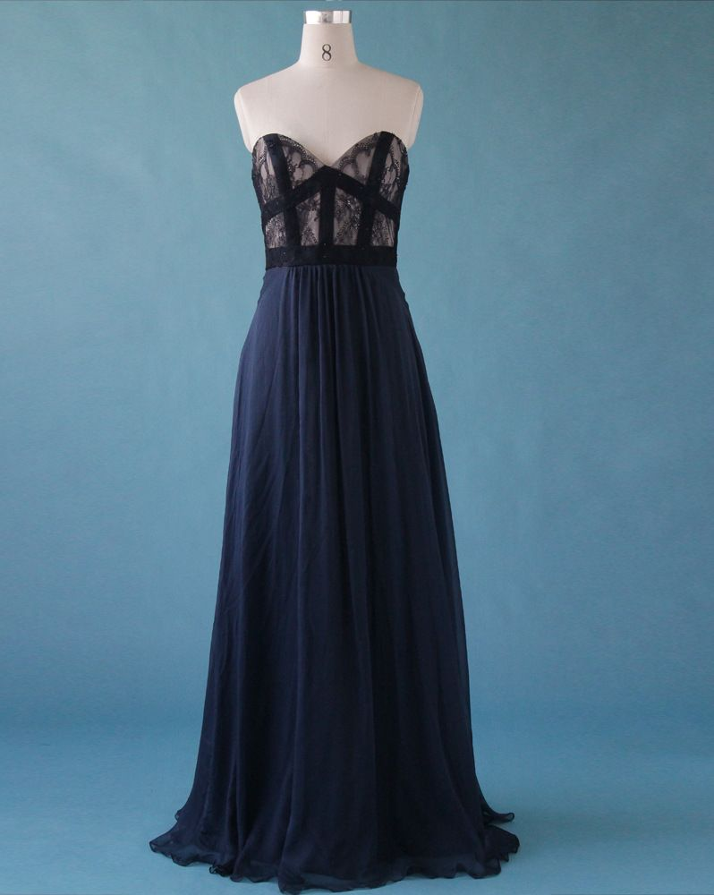 Elegant Deep Blue Sweetheart A-Line Floor Length Prom Dresses ...