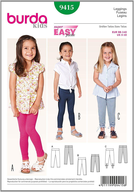 Amazon.com: Burda Kids Leggings Easy Sewing Pattern 9415: Arts ...