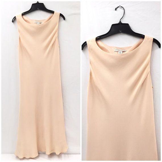 d6621f6166 Vintage 90s Silk Blush Pink Dress Slip Dress
