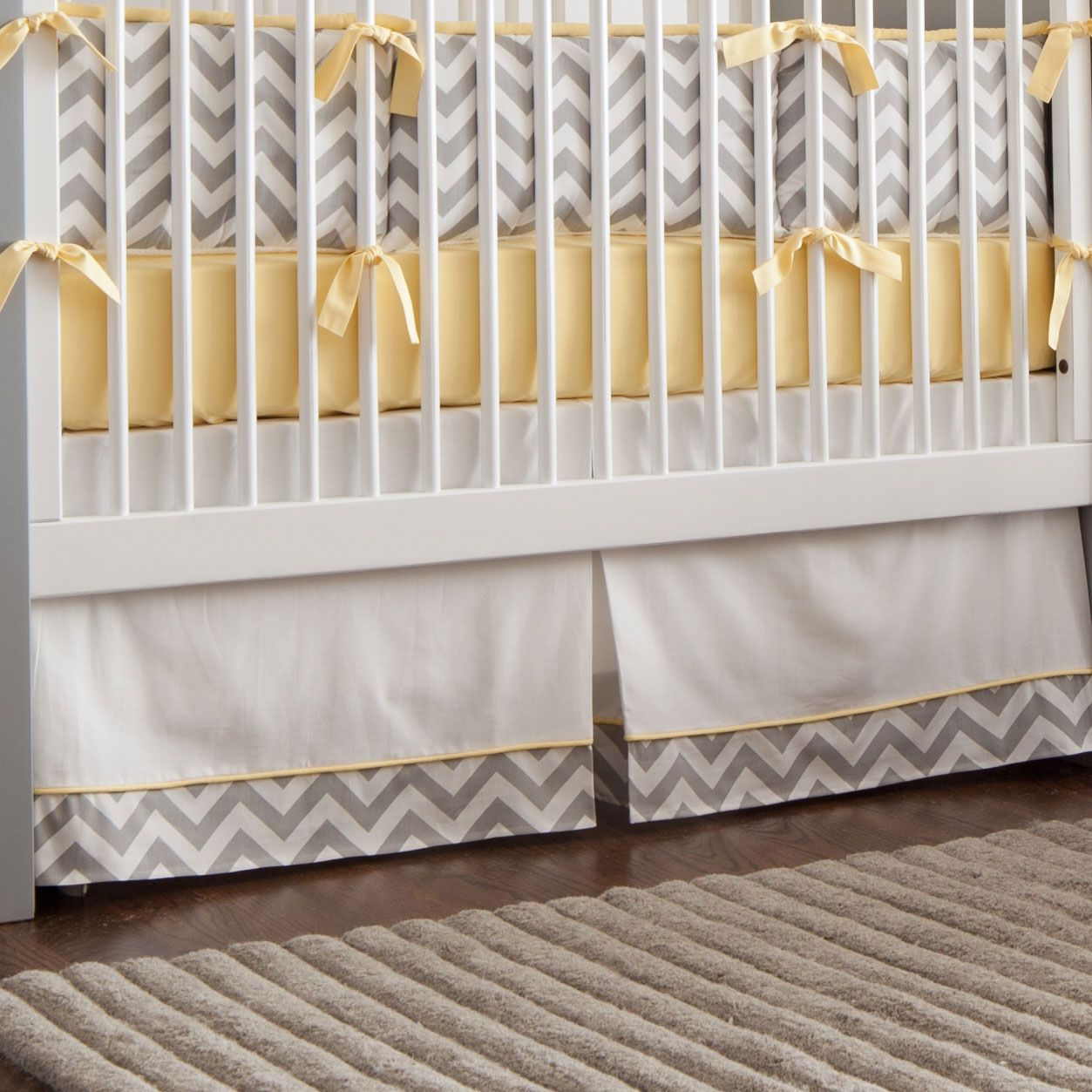 tassels p collection skirt nursery with dust crib gold tassel white