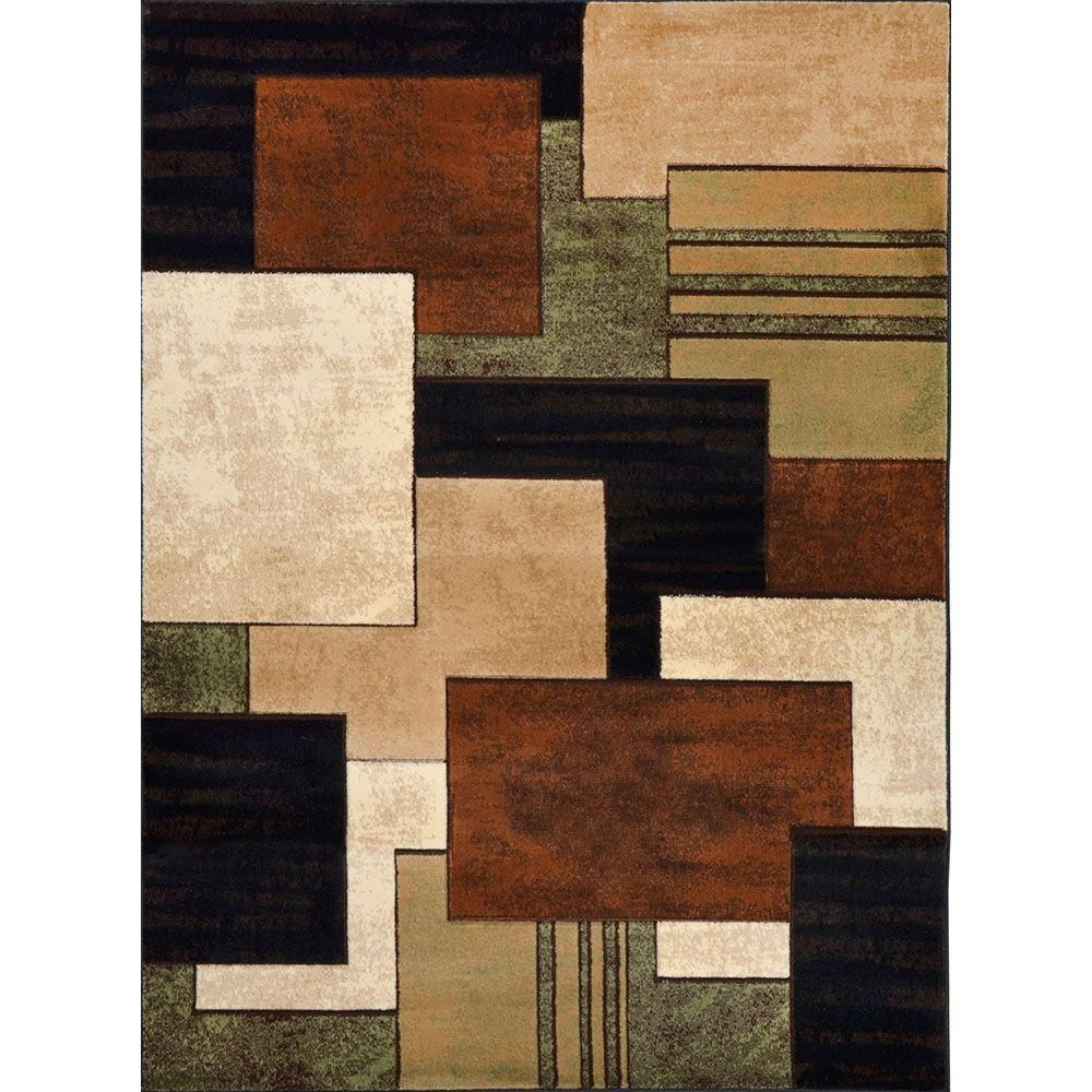 Home Dynamix Tribeca Brown Green 7 Ft 10 In X 10 Ft 6 In Indoor Area Rug 1 Hd5367 548 The Home Depot Geometric Area Rug Quality Area Rugs Area Rugs