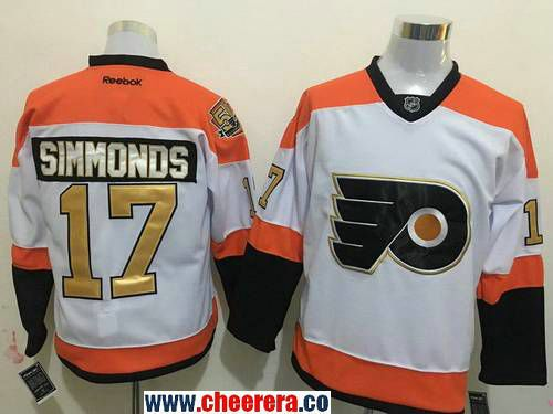 dc91e6688 Men s Philadelphia Flyers  17 Wayne Simmonds White 50th Anniversary Gold  Stitched NHL Reebok Hockey Jersey