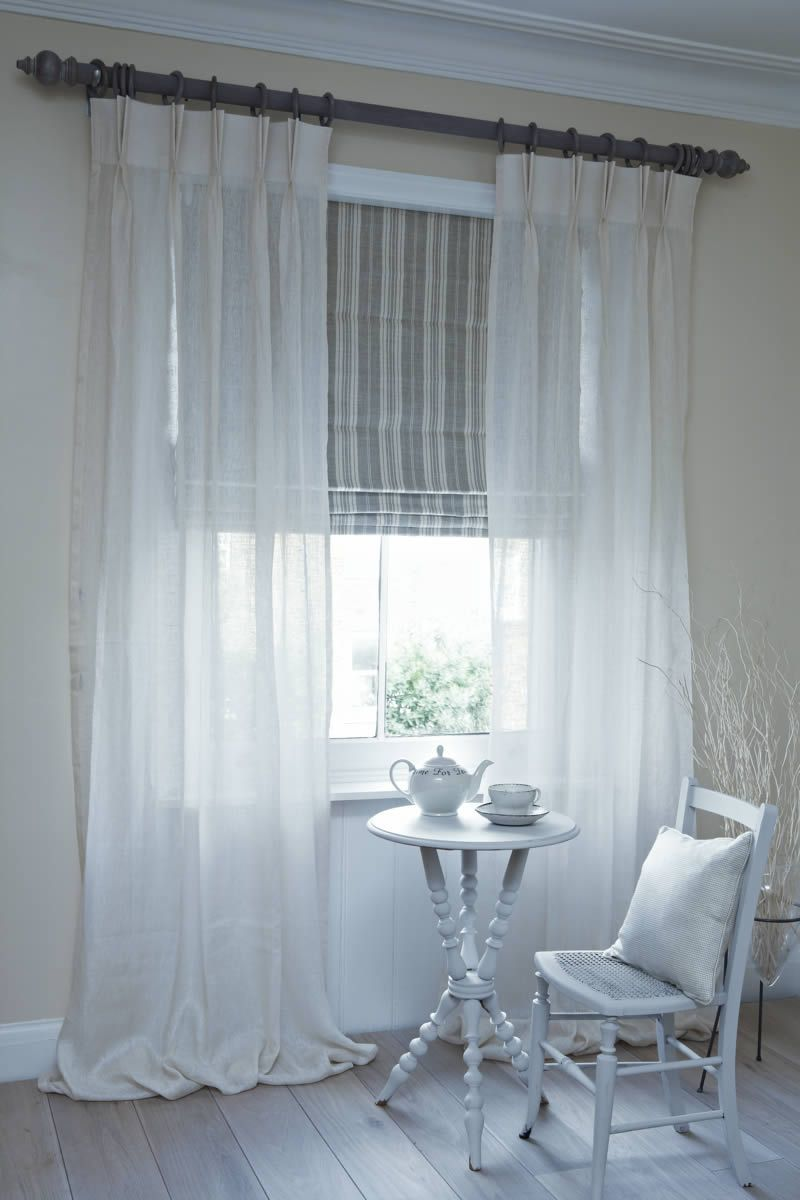 Dublin roman blind with clare voile curtains on pole for Window voiles
