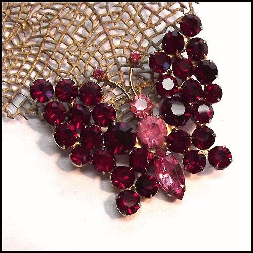 Juliana Butterfly Big RARE Ruby Red w Pink Crytals 1950s Jewelry   http://www.greatvintagejewelry.com/inc/sdetail/d-e-juliana-butterfly-big-rare-ruby-red-w-pink-crytals-1950s-jewelry/1896/20228