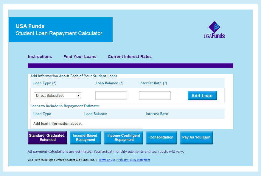 the usa funds student loan repayment calculator provides