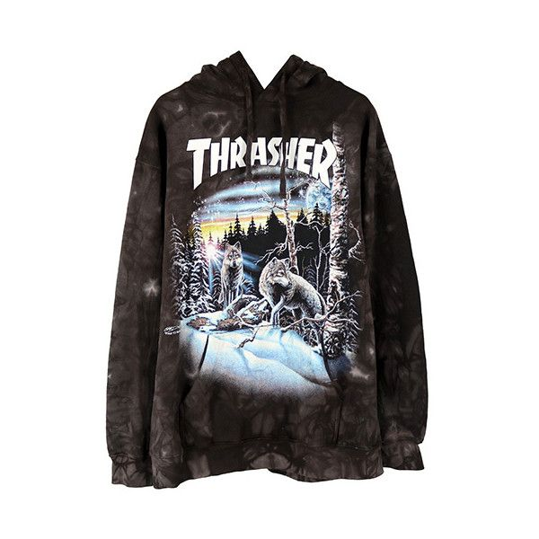 f6799c7e99fc THRASHER 13 WOLVES HOODIE   BLACK TIE-DYE ( 135) ❤ liked on Polyvore  featuring tops