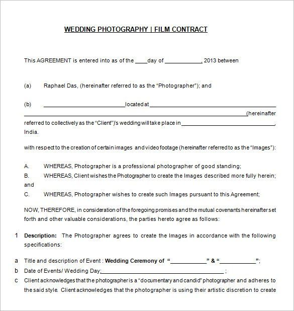 Free Download Wedding Photography Contract Templat , 20+ - blank sponsor form