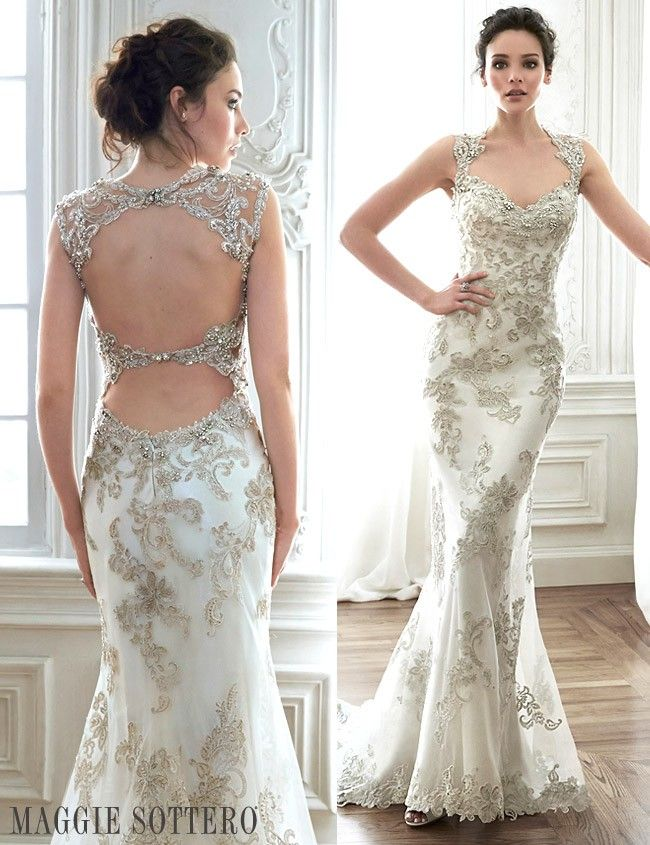 Friday Favorite: Sparkling Lace Sheath Wedding Dress | Lace sheath ...