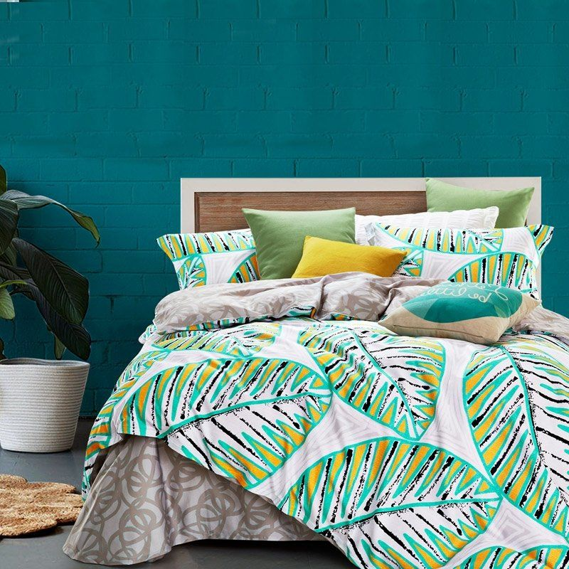 Unique Turquoise Yellow Black And White Tropical Style Leaf Print