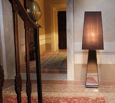 Narciso L Contemporary Italian Designer Floor Lamp In Smoked Mirror