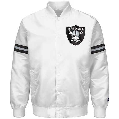 Oakland Raiders White Satin Starter Logo Jacket  7950495f05c