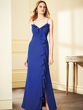 Alfred Angelo Style 7294L: spaghetti strap floor length bridesmaid dress with ruffles