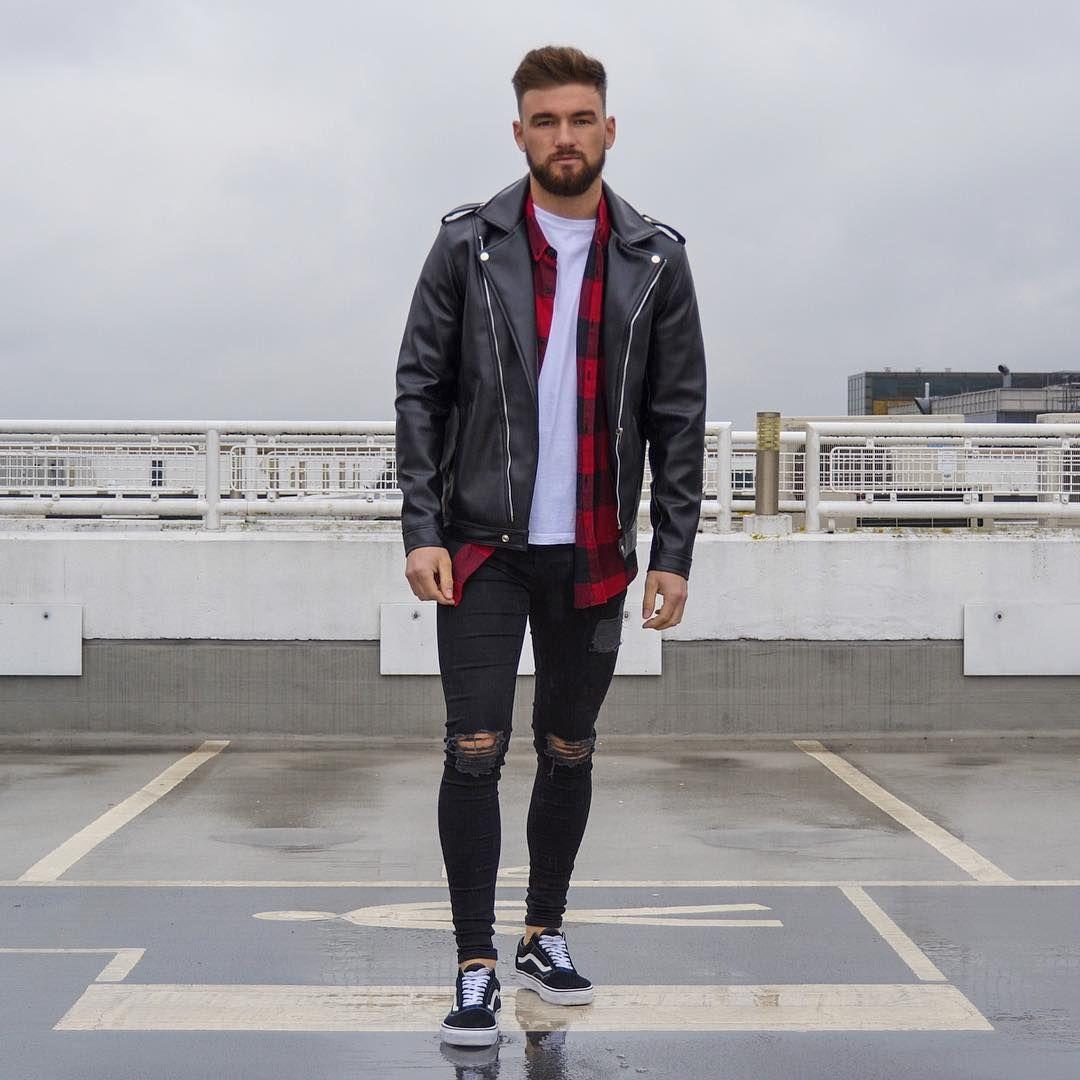 Leather Jacket Boohoomanofficial Shirt Tee Topman Jeans Setinstone Clothing Kicks Vans Ldnfashio Topman Jeans Mens Outfits Jean Jacket Outfits Men [ 1080 x 1080 Pixel ]