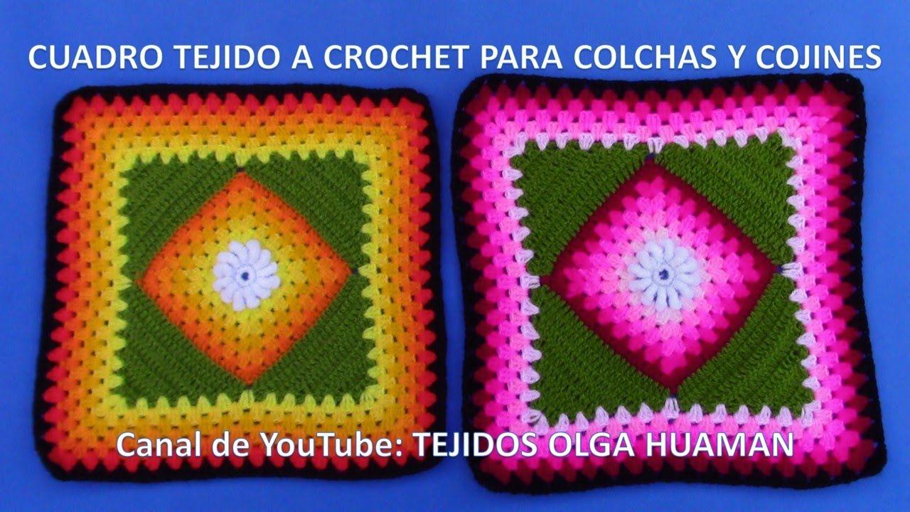 Cuadro Tejido a Crochet # 20 PARTE 1 para Colchas y Cojines ...