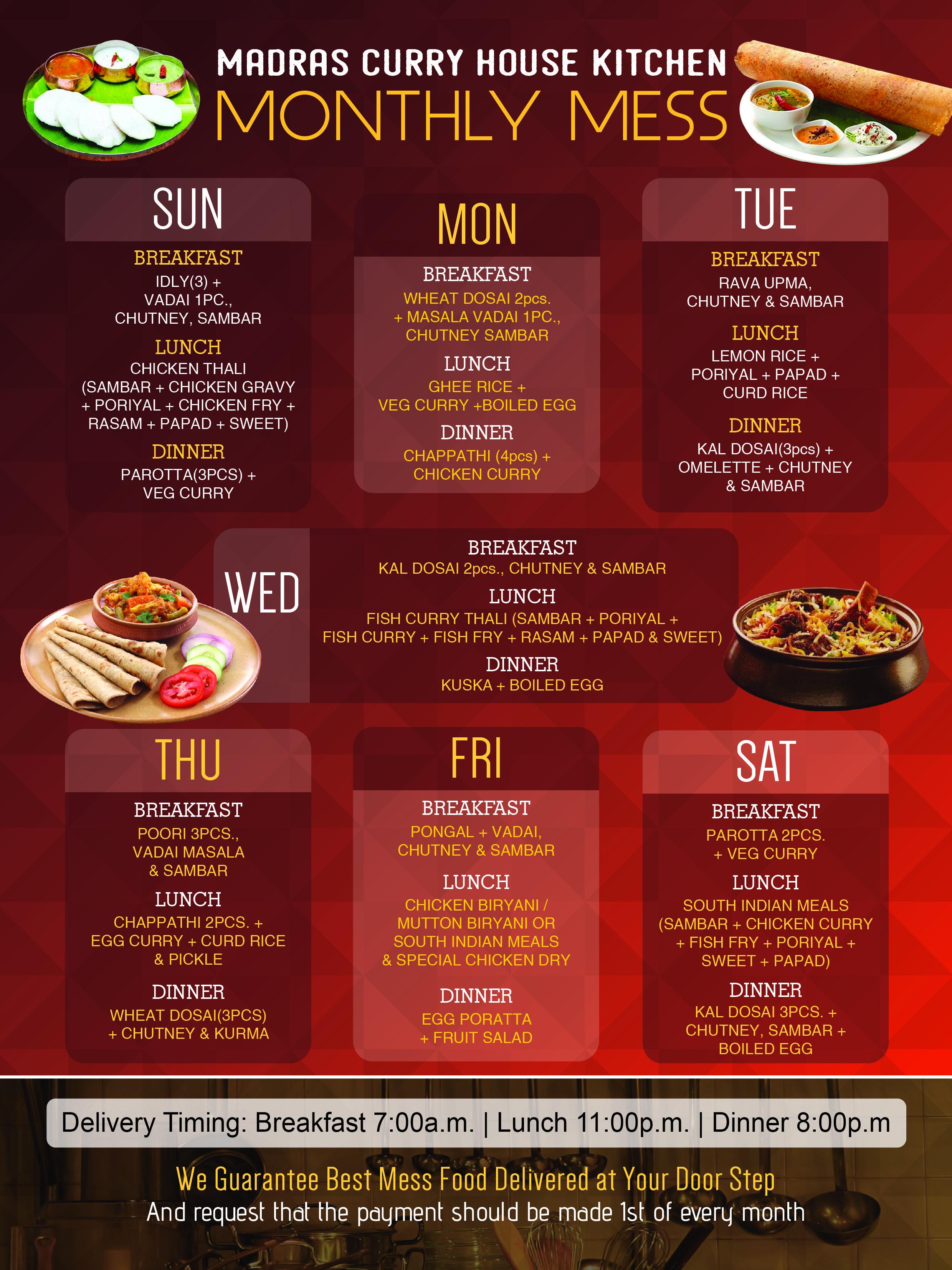 Monthly Mess Ajman Restaurant Veg Curry Breakfast Lunch Dinner Madras Curry