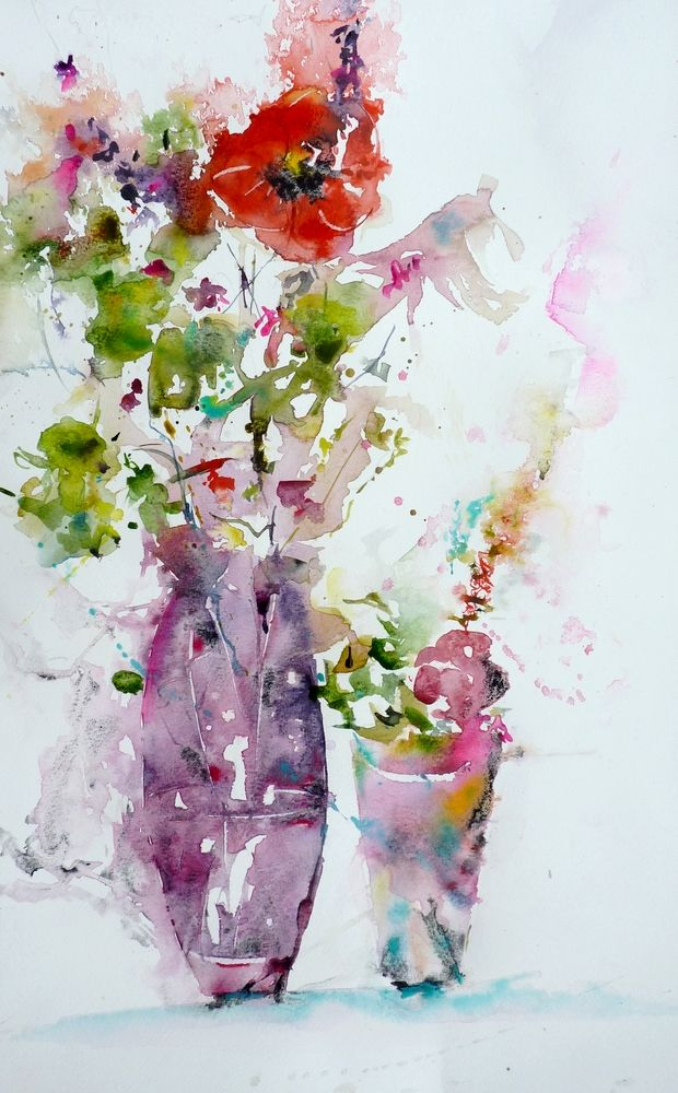Le Bouquet Au Coquelicot Watercolor Flowers Watercolor Flowers