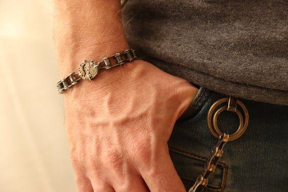 Handmade steampunk bracelet, Oxidized silver bracelet, silver Motorcycle guy jewelry, Sterling silver link bracelet, gift for husband biker#biker #bracelet #gift #guy #handmade #husband #jewelry #link #motorcycle #oxidized #silver #steampunk #sterling