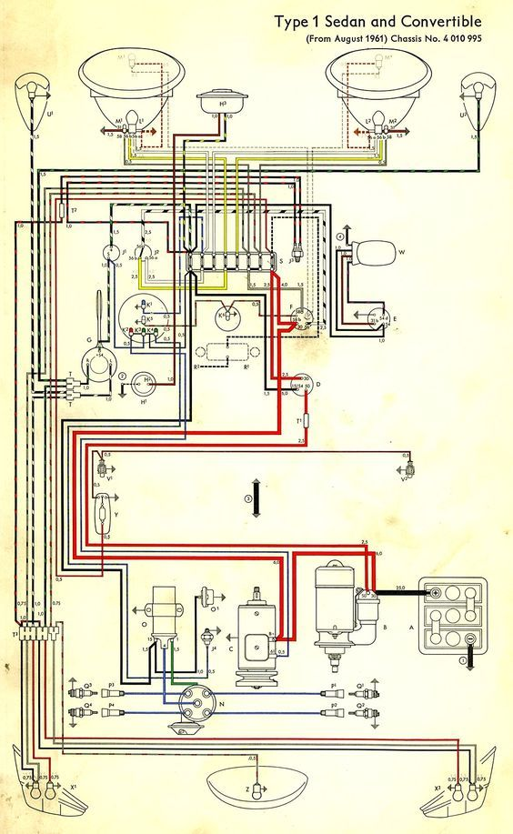 6de850299846cf99969557de73db1c04 wiring diagram in color 1964 vw bug, beetle, convertible the vw bug wiring diagram at soozxer.org