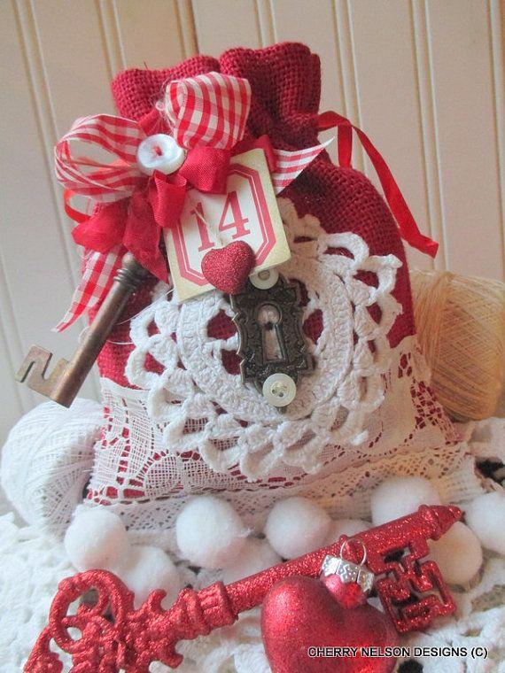 vintage valentine burlap bag-large RED VALENTINE BURLAP bag-handmade burlap bag