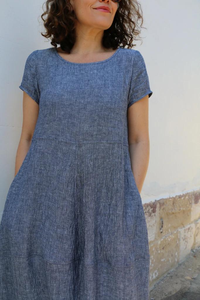 Long Maxi Pleated LinenSilk Blue Patchwork Pinafore Dress with Big Pockets Summer Dress Sleeveless