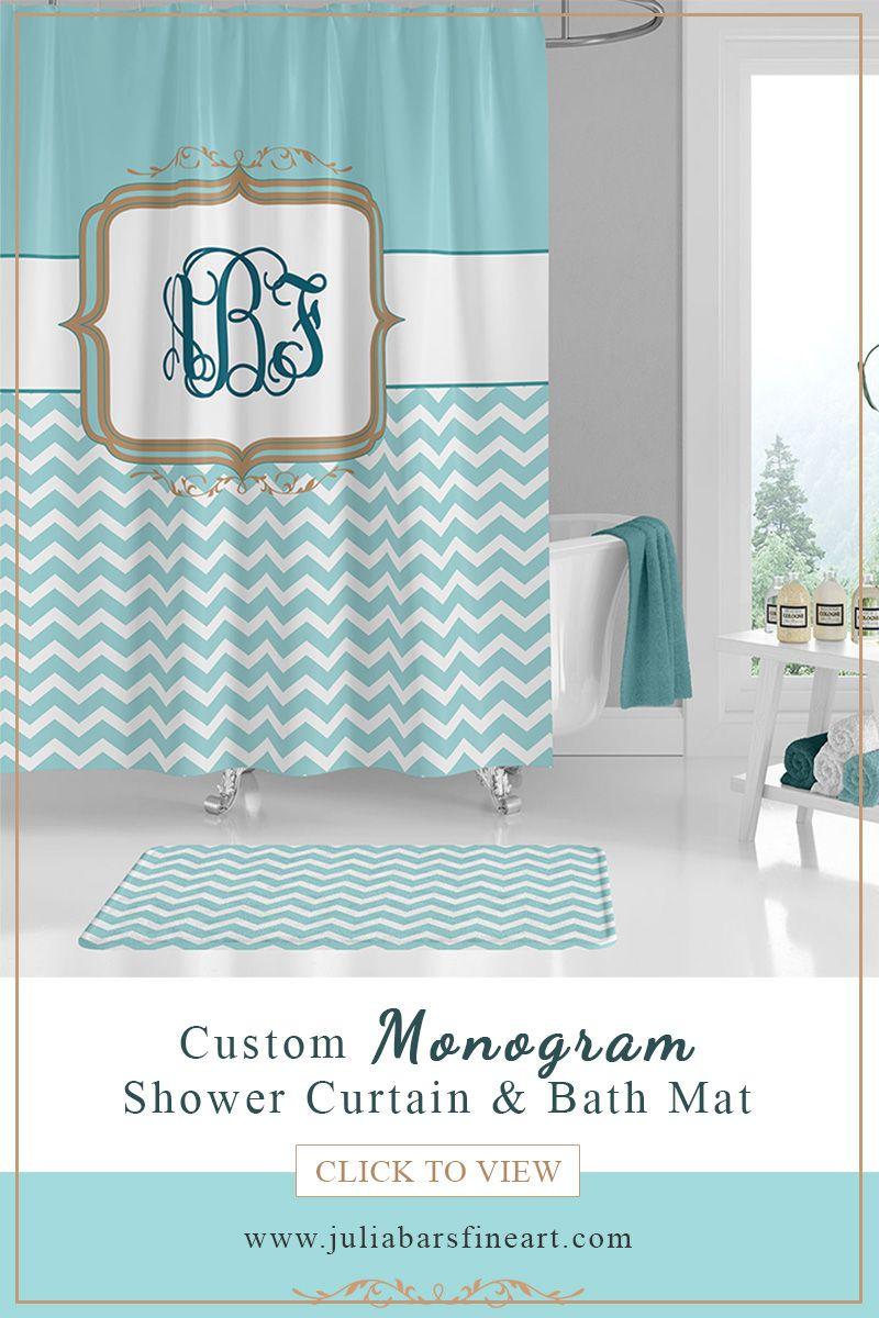 Monogram Shower Curtain Bath Mat Personalized Bath Curtain
