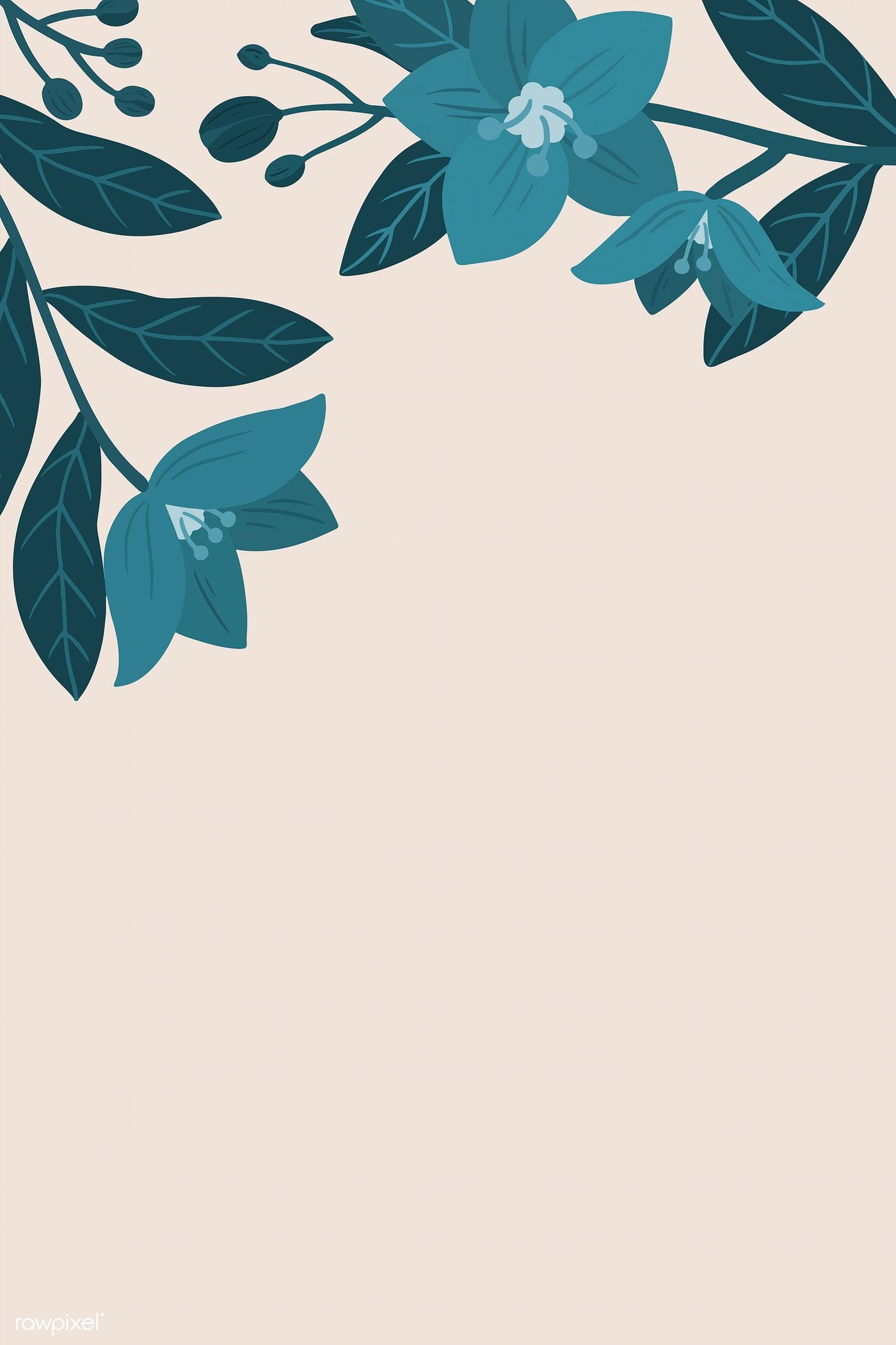 Botanical blue flower copy space on a peach background