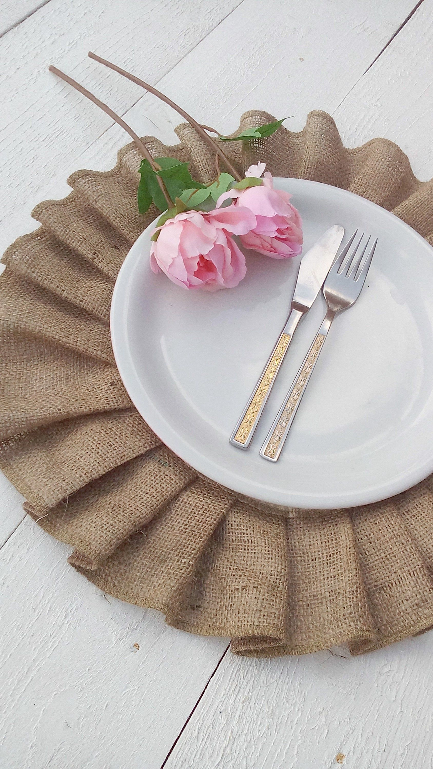 Ruffled Burlap Placemats Round Hessian Tablemats With Cotton Etsy Burlap Table Settings Table Centerpieces Wedding Table Centerpieces
