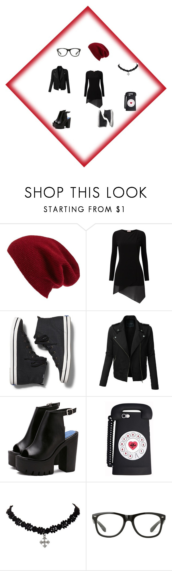 """Black white and Red is chic"" by dezlove-396 on Polyvore featuring Halogen, Phase Eight, Keds and LE3NO"