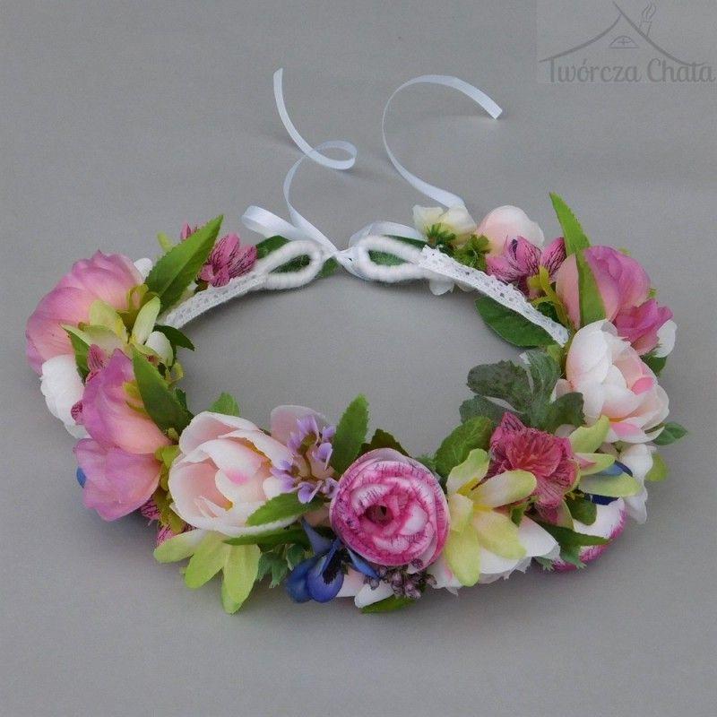 Rozowy Wianek Kwiatowy Na Glowe Wianek Slubny Pastelowy Floral Floral Wreath Wedding