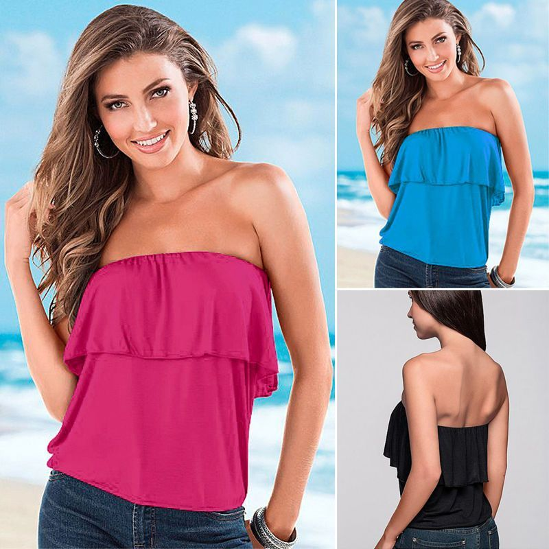 Turquoise Strapless Blouse