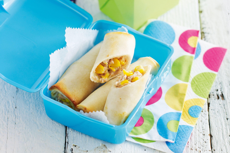 Tuna and corn spring rolls http://www.taste.com.au/recipes/25906/tuna+and+corn+spring+rolls Lunchbox snack
