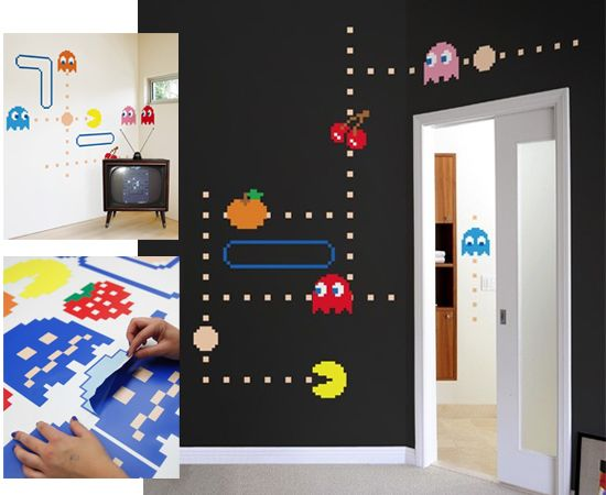pacman wall decals interior design home decor nostalgia games nerd geek d coration geek. Black Bedroom Furniture Sets. Home Design Ideas
