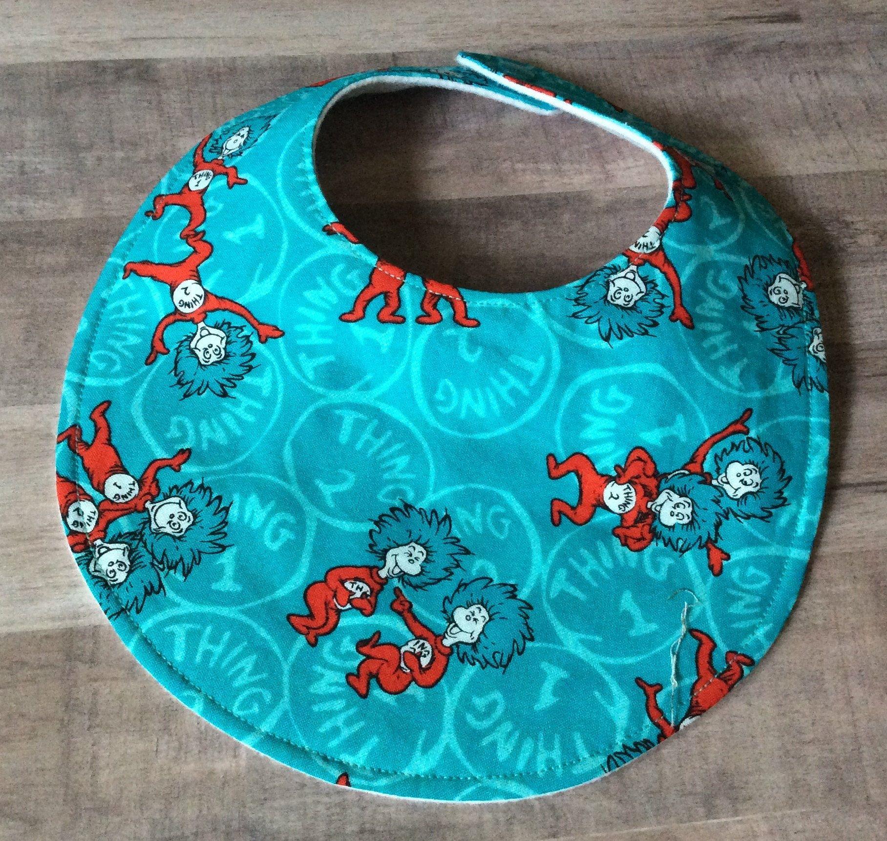 Seuss Thing 1 & Thing 2  turquoise Rag quilt Pacifier holder Dr Fopspeenkoorden, doosjes